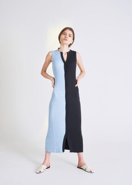 HIROKO DRESS FUMO-AZURRO